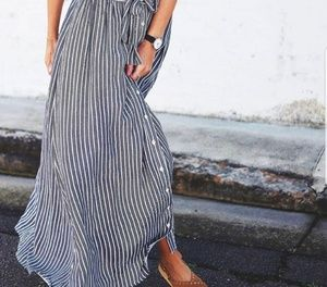 Long striped maxi skirt size large with pockets